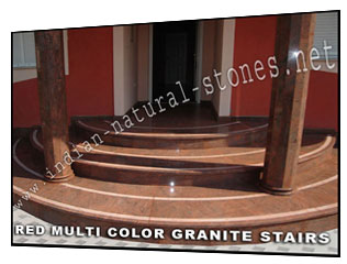 red multi color granite stairs